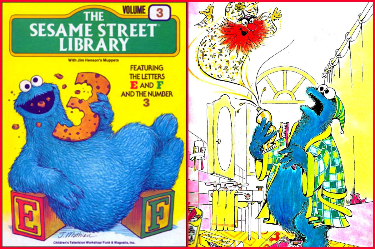 Cookie Monster eating the number Three & with his Genie ... as he brushed his teeth one day, as he squeezed his toothpaste there was deep thundering and suddenly the Genie of the toothpaste appeared before his eyes.