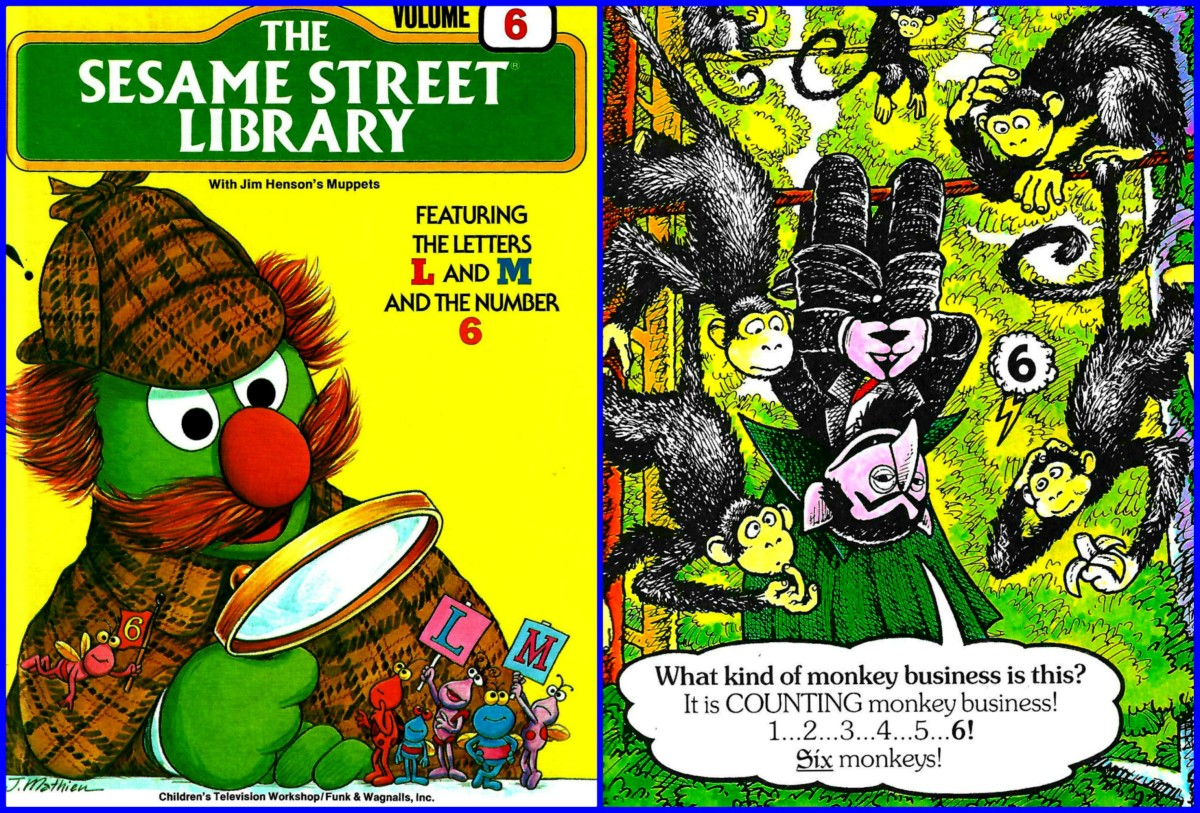 In the Sesame Street Library Volume Six you have The Count doing some monkey business, and there is a lot of detective work with the letters L and M and the number Six. These Muppets are at their best in this volume.