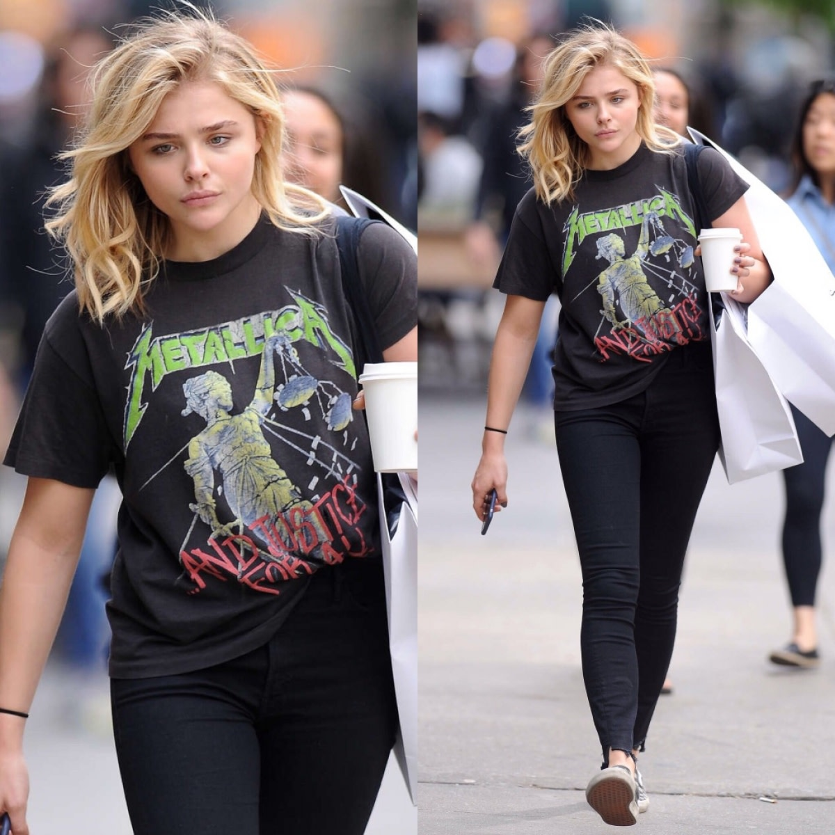"Chloe Moretz (Glamour star) wearing ""...And Justice For All"" shirt -- same shirt I ended up choosing!"