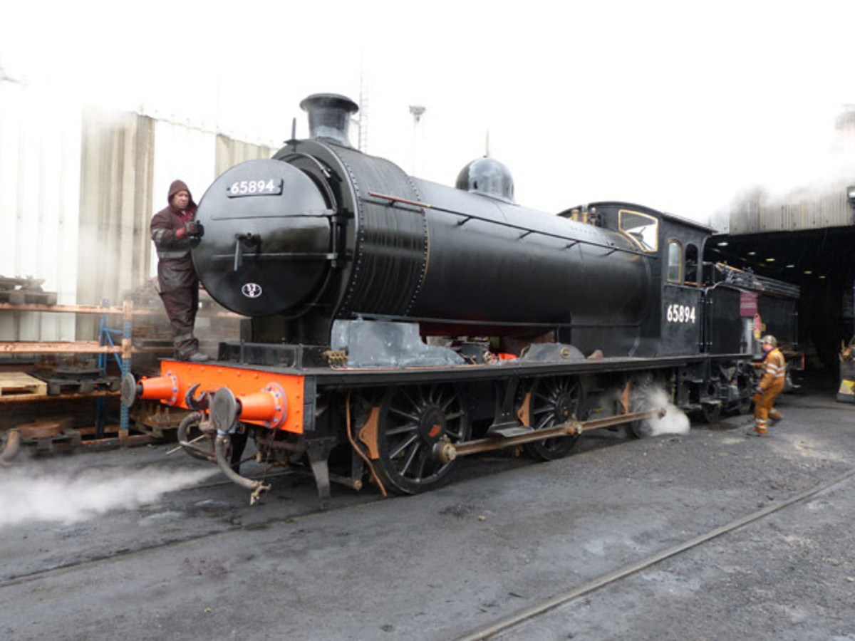 65894 undergoes steam tests and 'fettling' at Deviation Shed, mid-May, 2018 (Neal Woods)