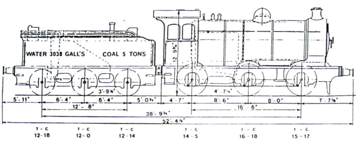 NER Drawing, Class P3 0-6-0 inside cylinder mineral and branch goods locomotive