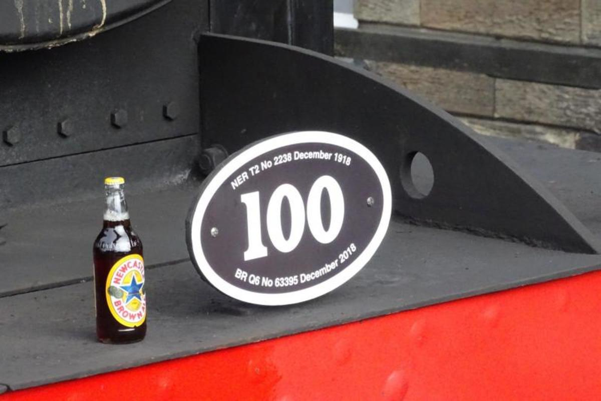 NELPG's Q6 63395 celebrated her 'official' 100th in January, 2019 with a pint bottle of 'Newky broon' (Newcastle Brown Ale). Wouldn't have done her pipes any good, only wet her whistle! She'd been 'outshopped' from Darlington North Road December 1918