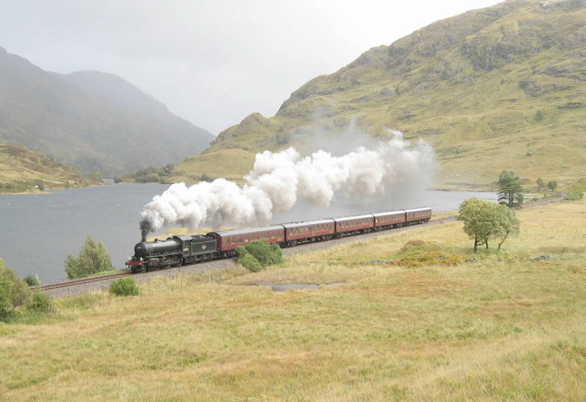 October, 2003, 62005 cruises by Loch Eilt on the West Highland line between Fort William and Mallaig