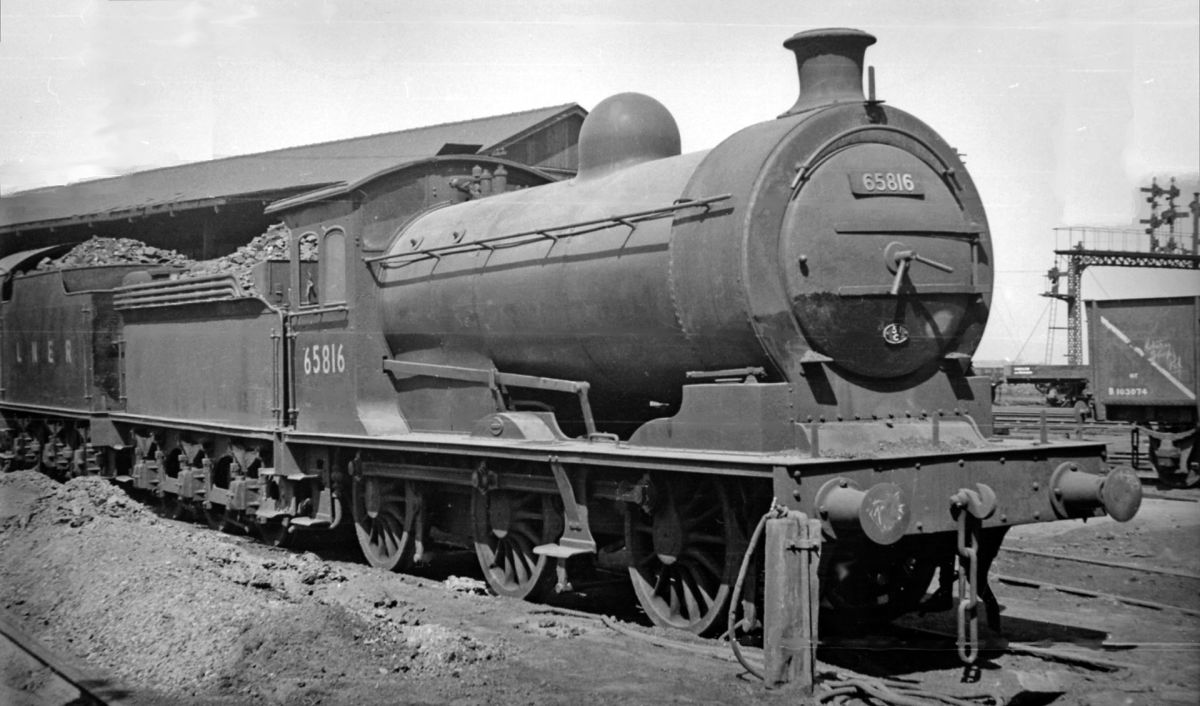 J27 65816 rests between duties at her home shed, West Hartlepool (51C) in early British Railways days - note the loco behind, her tender still in LNER livery