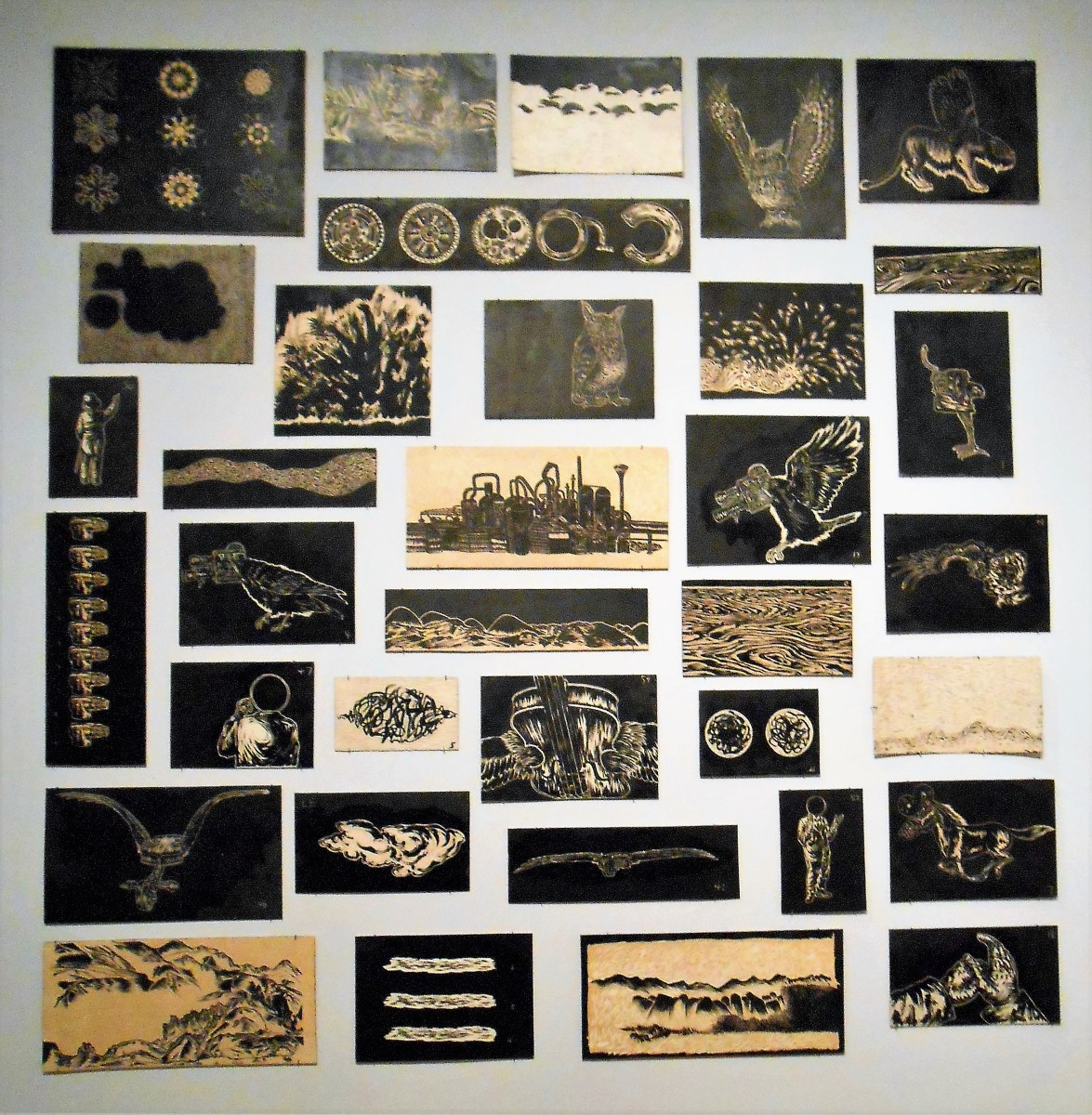 This image shows many of the print blocks on display all together.  They were fascinating.