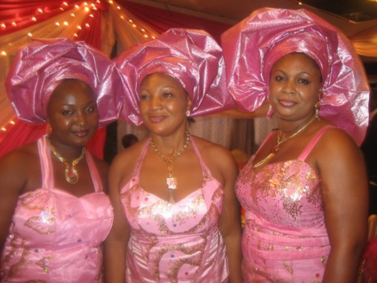 Some women from Nnewi wearing modern native attires