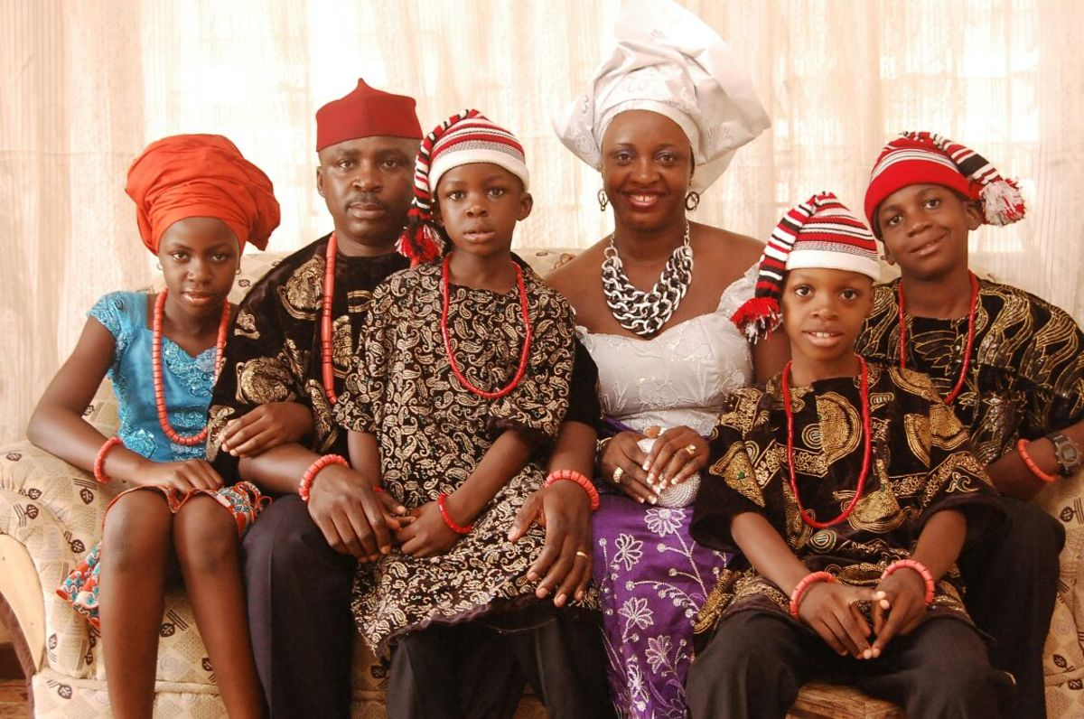 Igbo family in traditional attire