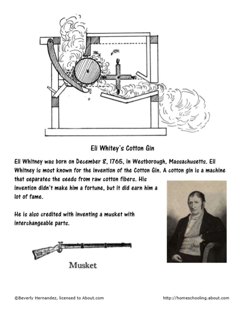 Eli Whitney Coloring Pages from https://www.thoughtco .com/