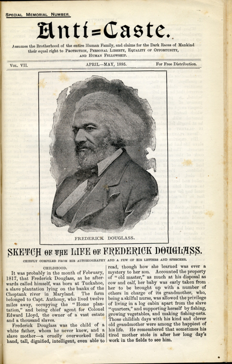 Anti-Caste pamphlet with Frederick Douglas on the cover, April/May 1895.