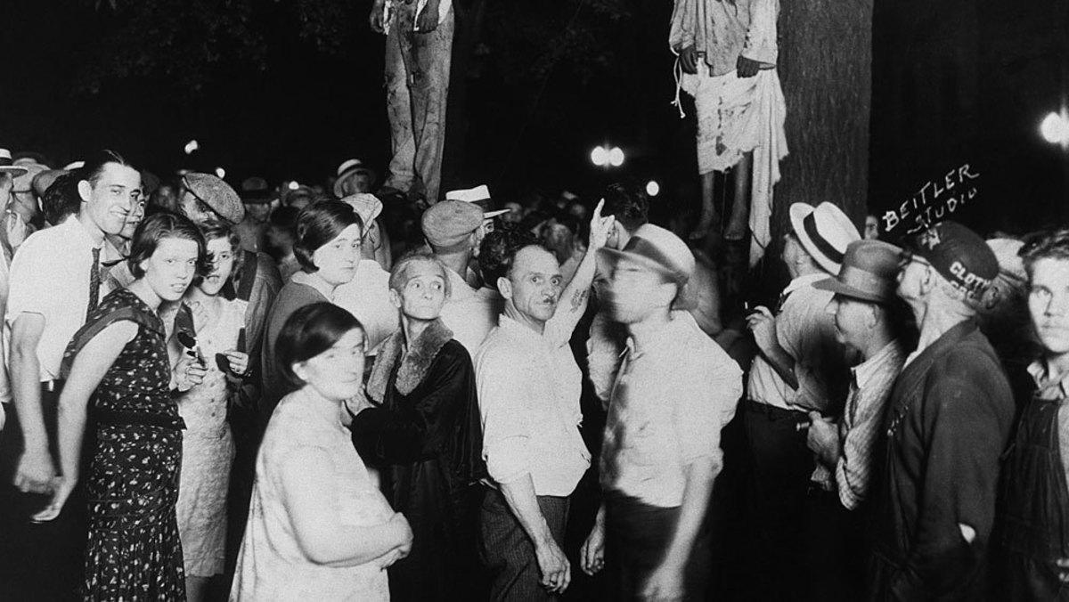 Scene after a 20th century lynching.
