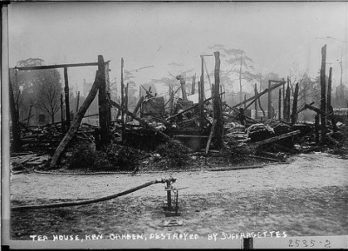Suffragettes eventually resorted to more drastic measures, including arson.  This is the Tea House Kew Garden, in England, burned by militant suffragettes.