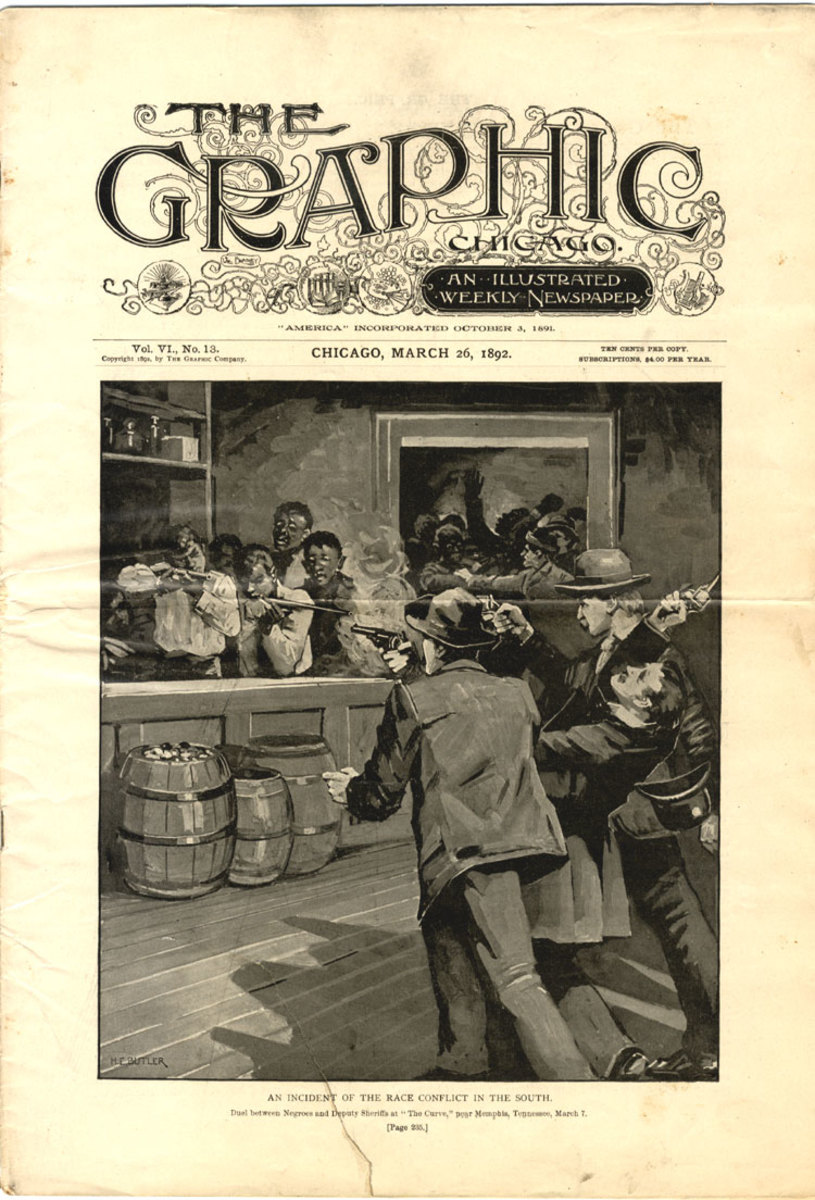 Cover of The Graphic Chicago, with an illustration of the lynch mob attack on the People's Grocery in Memphis, TN.