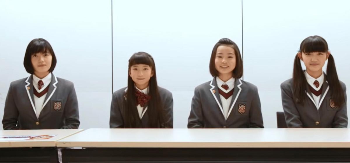 A few members of Sakura Gakuin and they are from left to right: Sara Kurashima, Tsugumi Aritomo, Yuzumi Shintani and Maaya Asou.