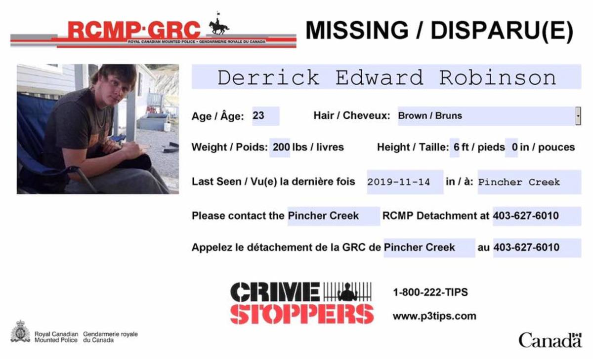 Official Missing Person Notice - RCMP
