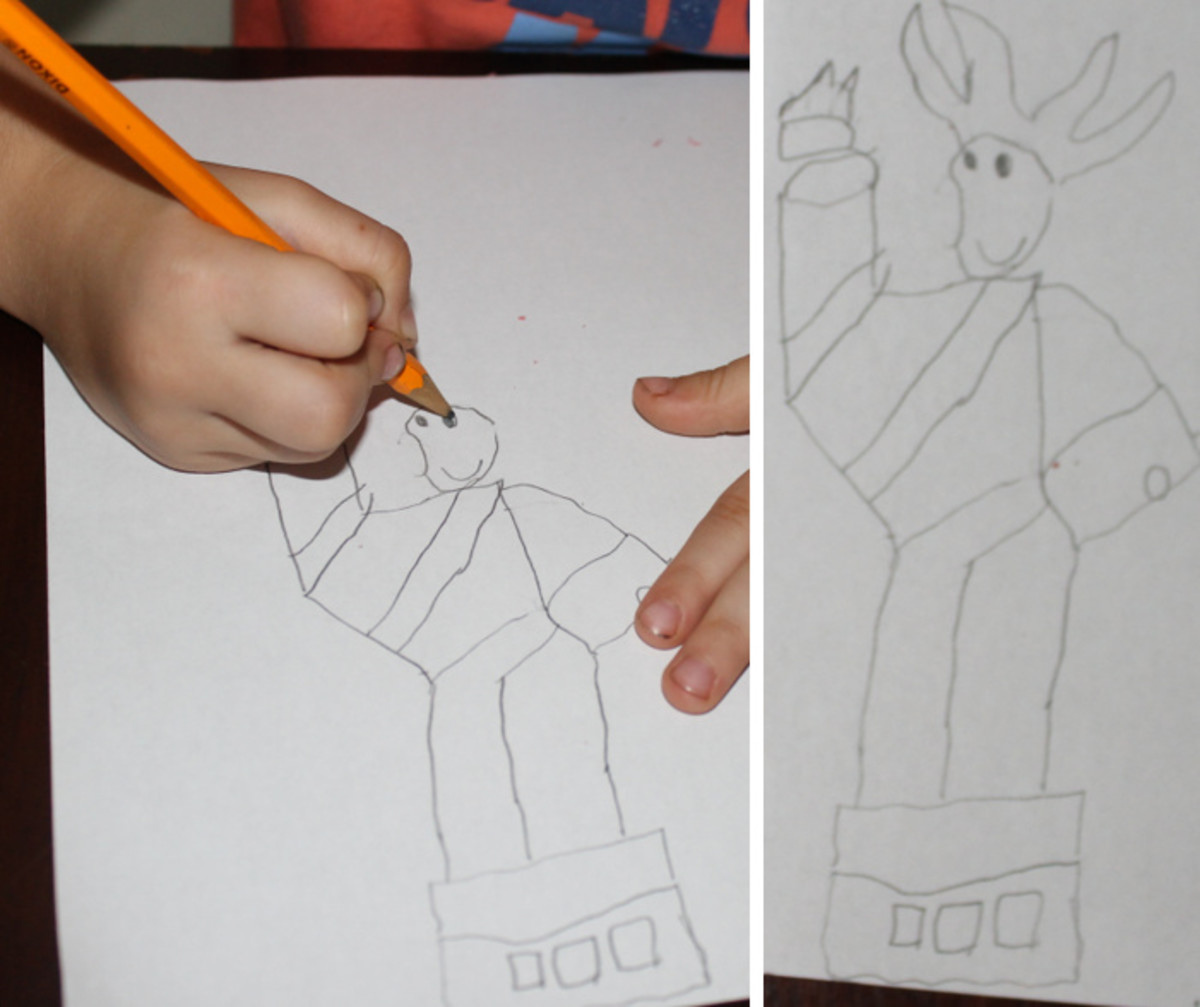 Upside-down image of the Statue of Liberty drawn by a young 5 year old