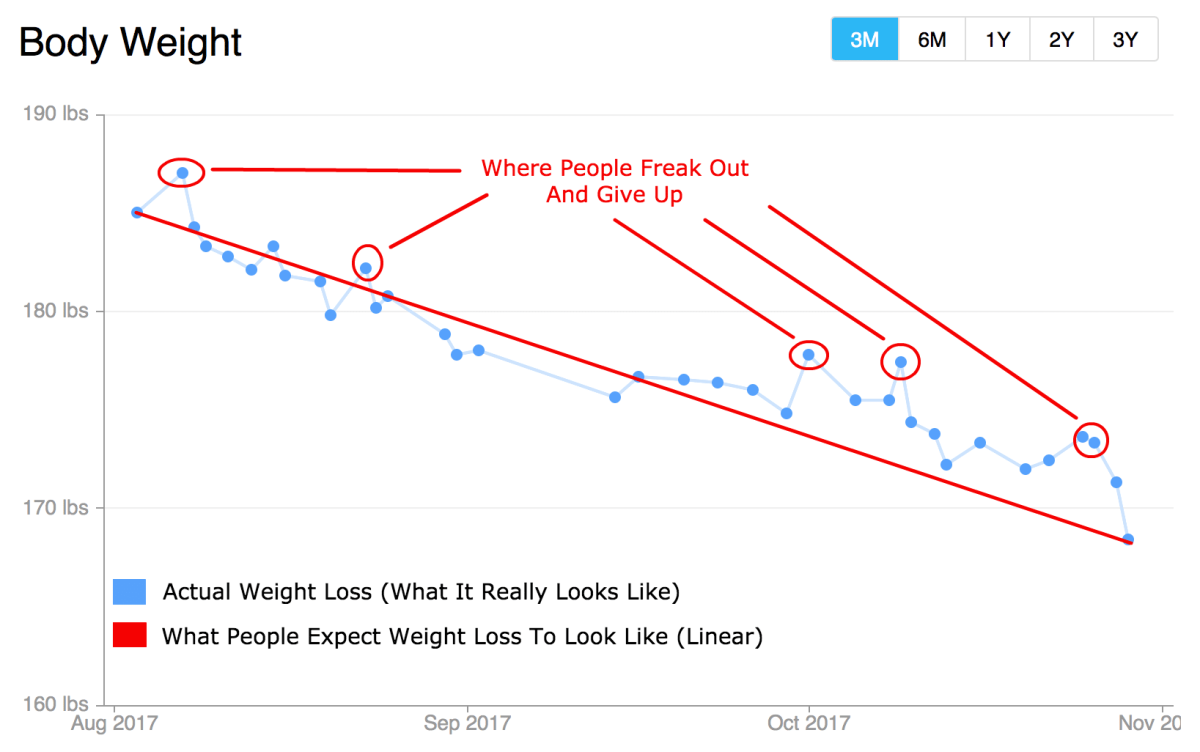 The weight loss process is rarely ever linear, especially when done properly-and slowly.