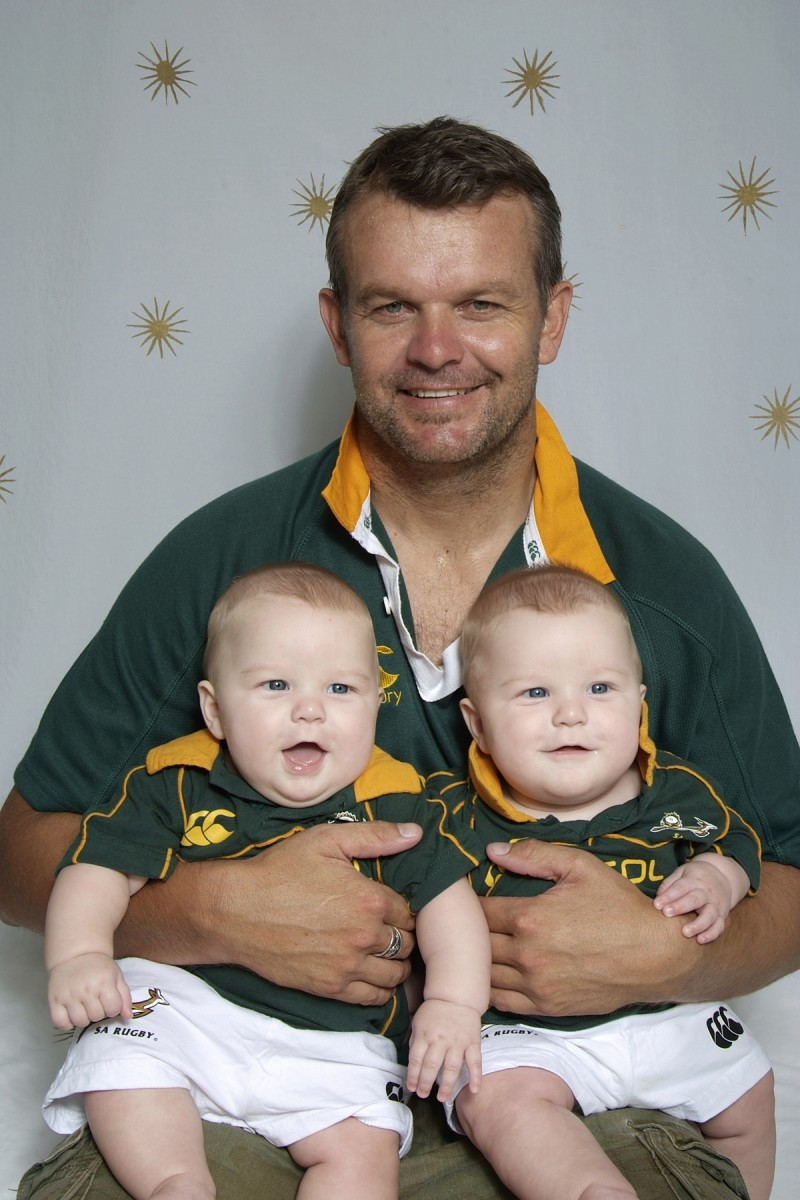 My brother and twins proudly displaying their world champion Springbok rugby jerseys.