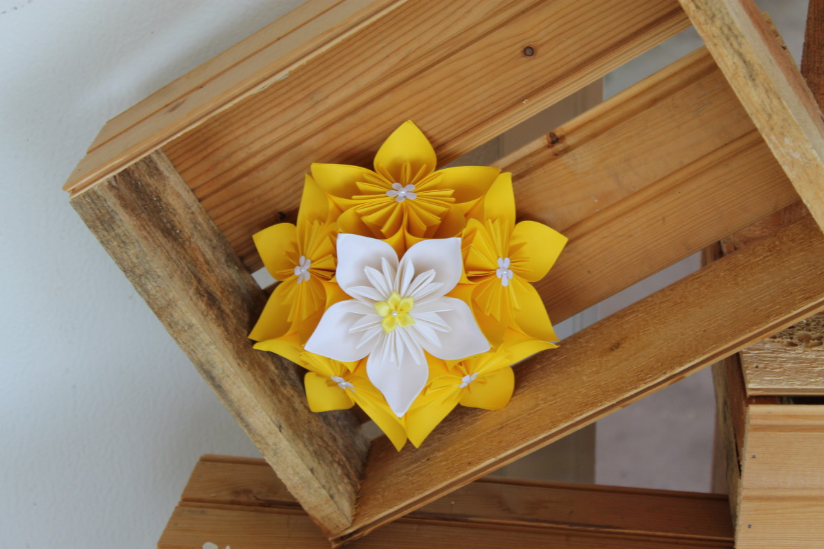 A multi-purpose origami centrepiece that I made for my friend's wedding. Used here as a decorative piece in wooden crates.
