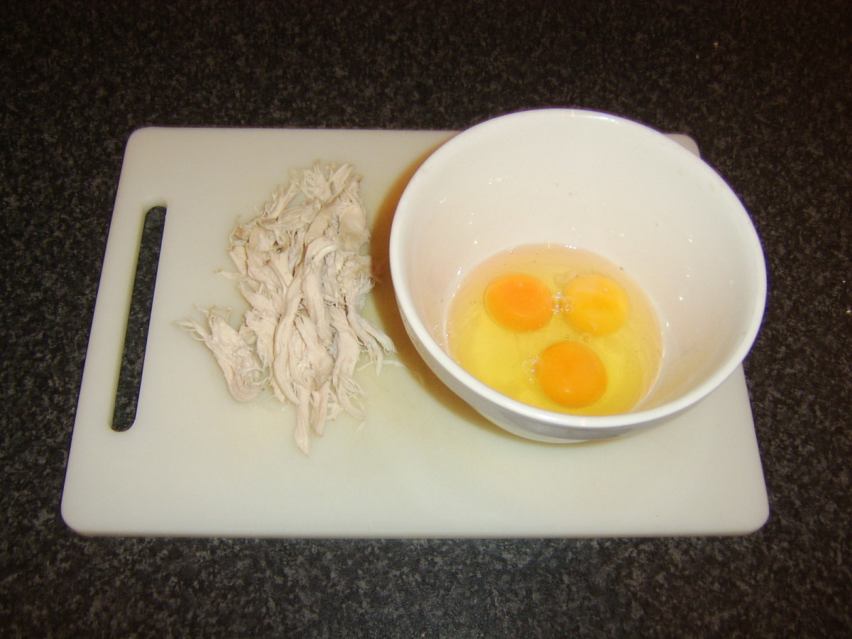 Poached chicken and eggs for omelette
