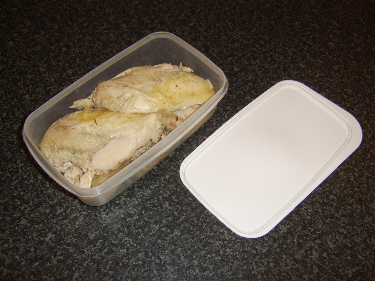 Poached chicken can be stored in a plastic container in the fridge for up to a couple of days