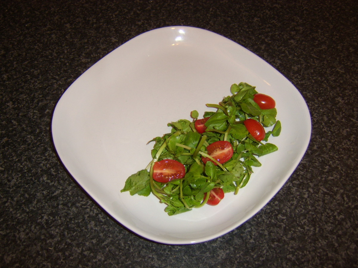 Watercress and baby plum tomato salad