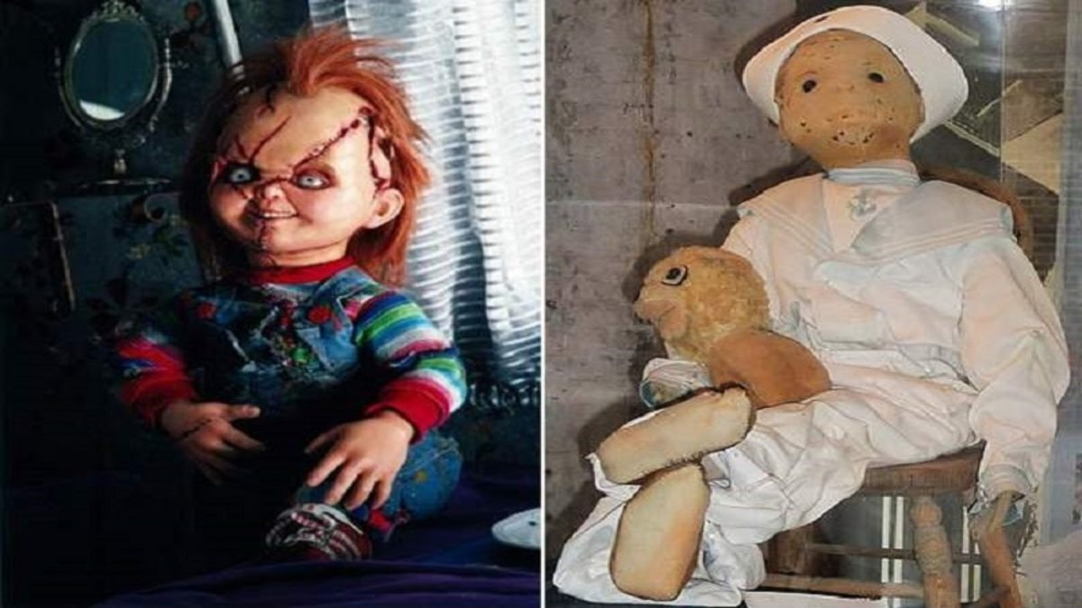 The famous evil doll Chucky (left) and the film's inspiration, an allegedly haunted doll.