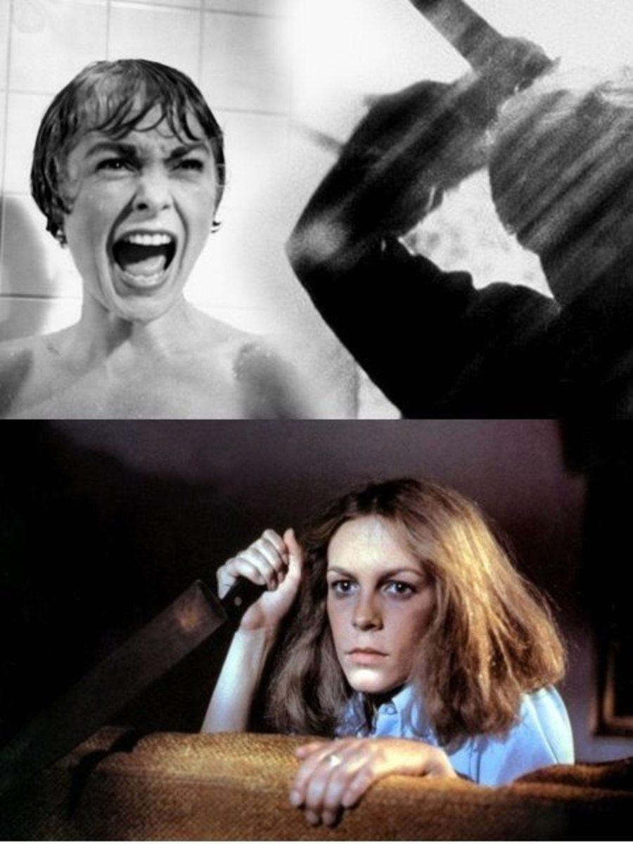 Janet Leigh (top) in Psycho & Jamie Lee Curtis in Halloween.