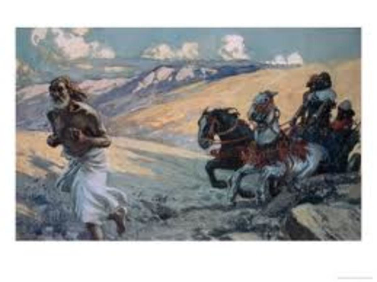 Elijah outrunning the chariot of King Ahab; it was a race against the rain.