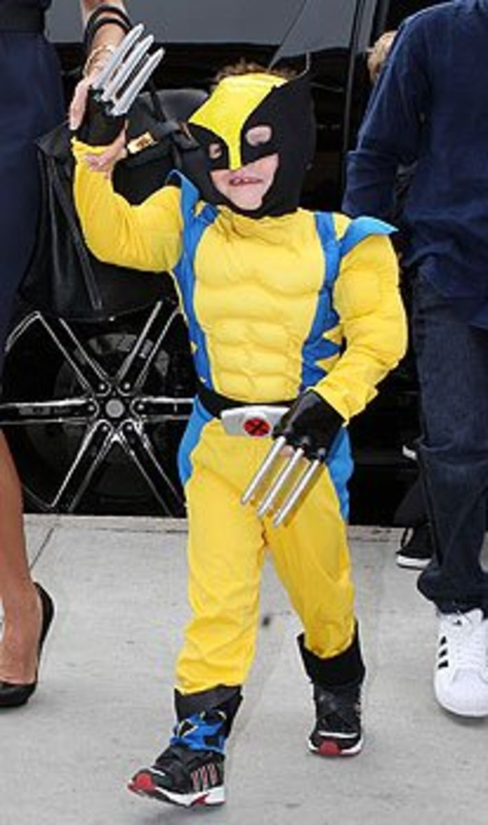 Cruz Beckham dressed as Wolverine from the popular comic 'X-Men'. Wolverine has wolf like qualities and has claws that are made of metal that are seriously deadly. He can also heal quickly from any injury and does not age.