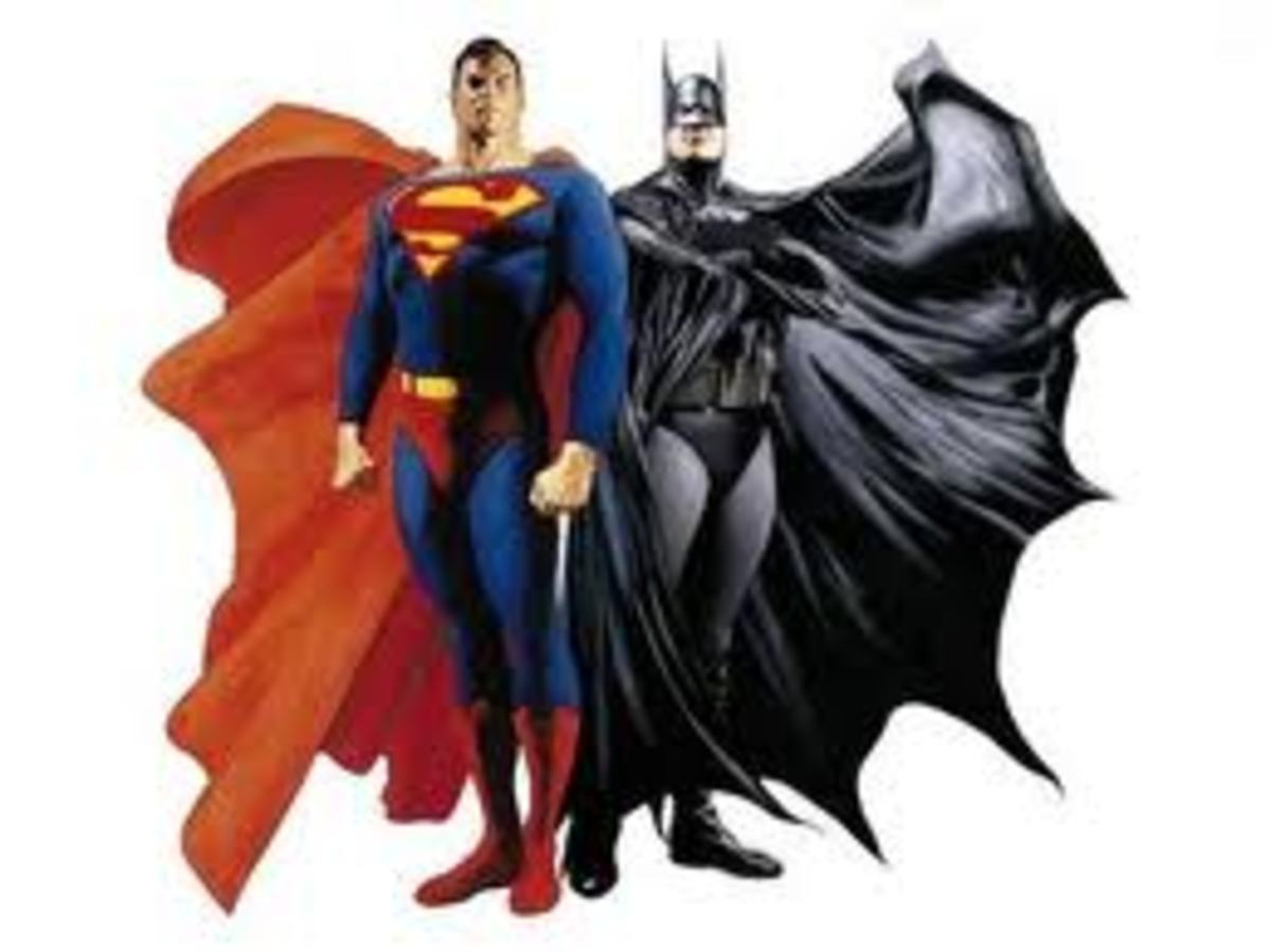 Superman and Batman - two popular superheroes of today.