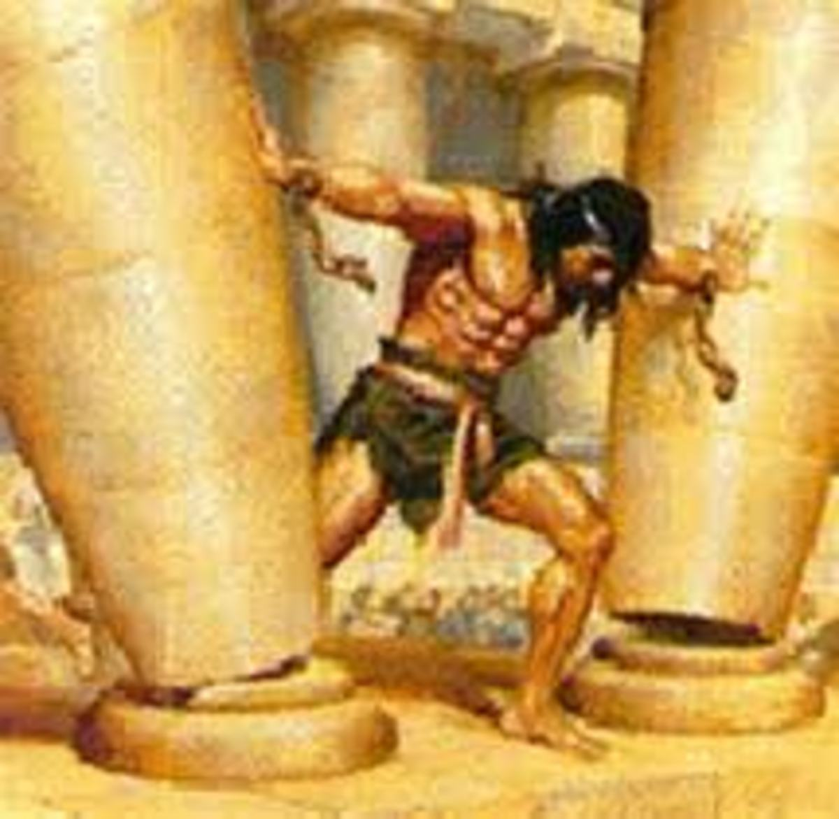 Samson, destroying the temple of Dagon the Philistine god.