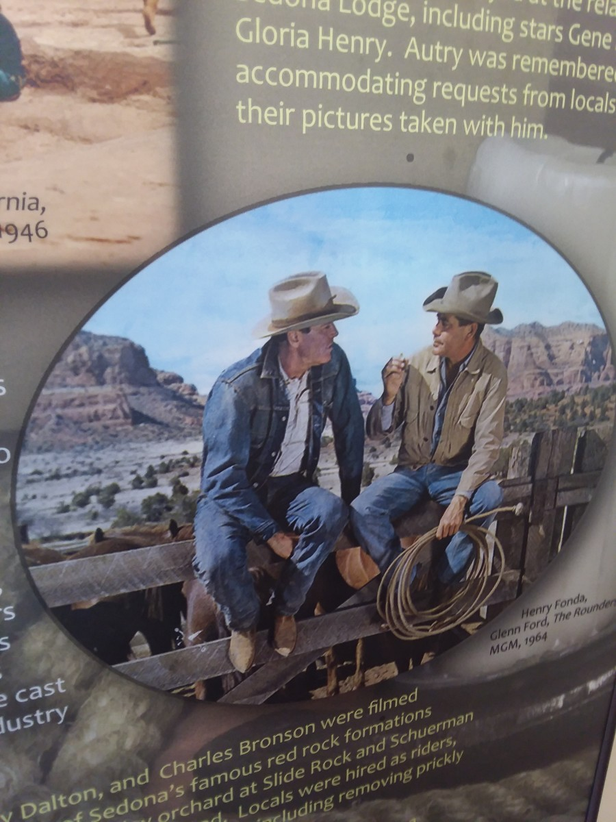 Photo taken of a film display at the Sedona Heritage Museum.