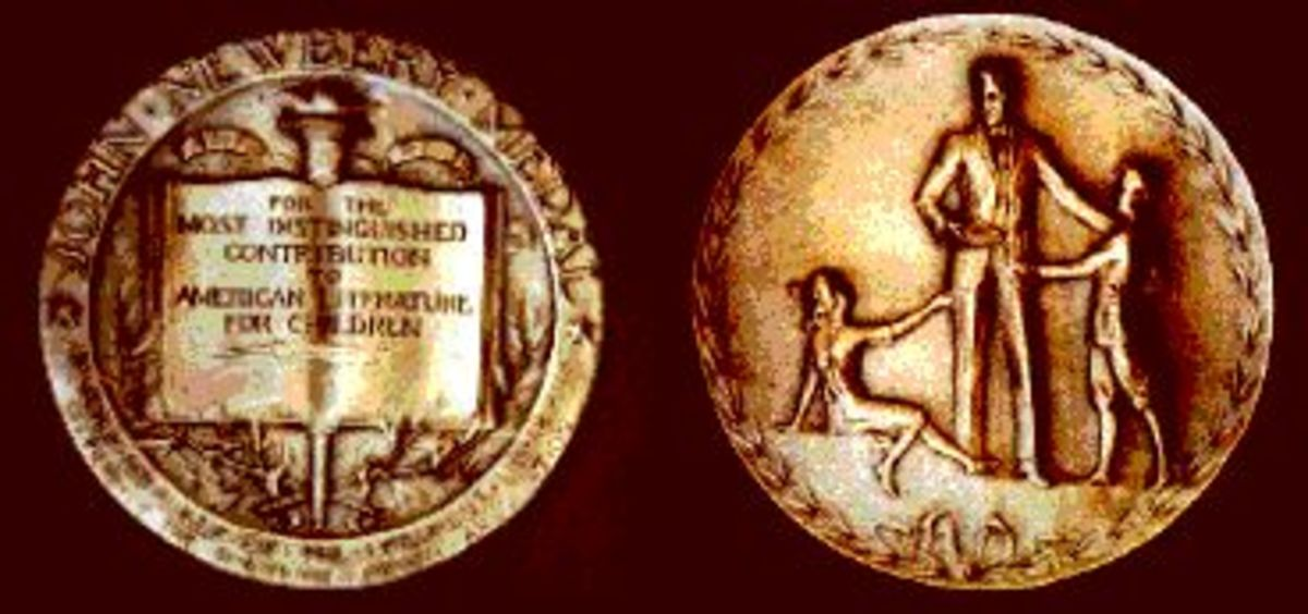 """The medal is made of bronze and was designed by Rene Paul Chambellan, an American sculptor. One side shows a book that reads, """"For the Most Distinguished Contribution to Literature for Children"""" and the other side shows a writer with two children."""