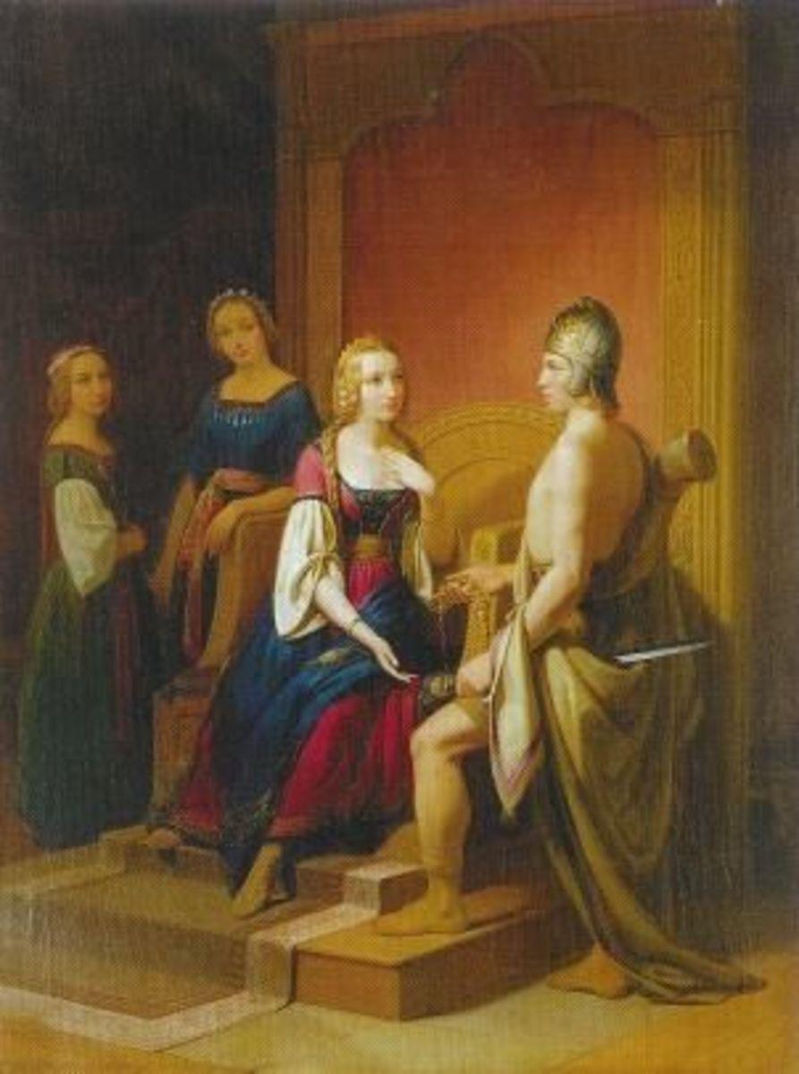 """Heimdallr returns the necklace Brsingamen to Freyja"" by Swedish painter Nils Blommr."