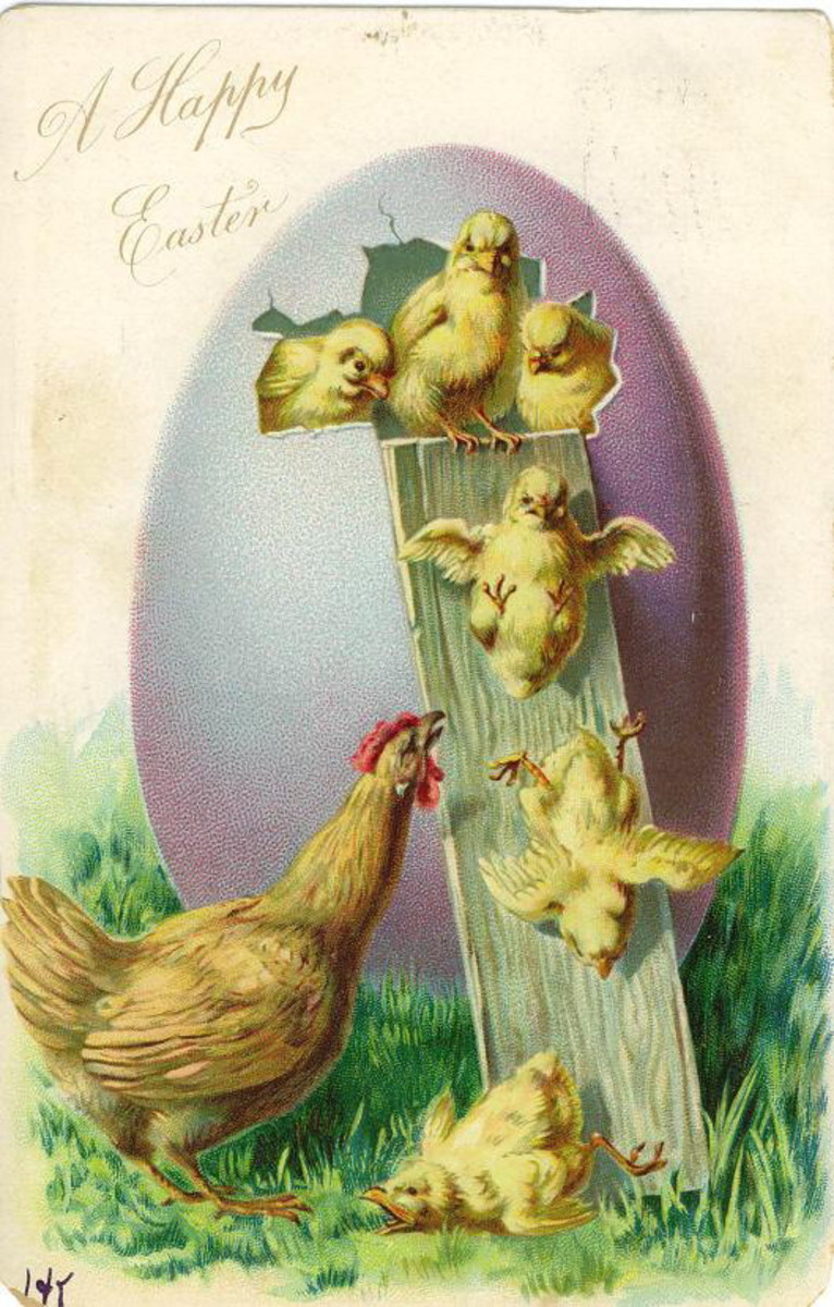 Vintage Easter egg greeting card with mother hen and chicks