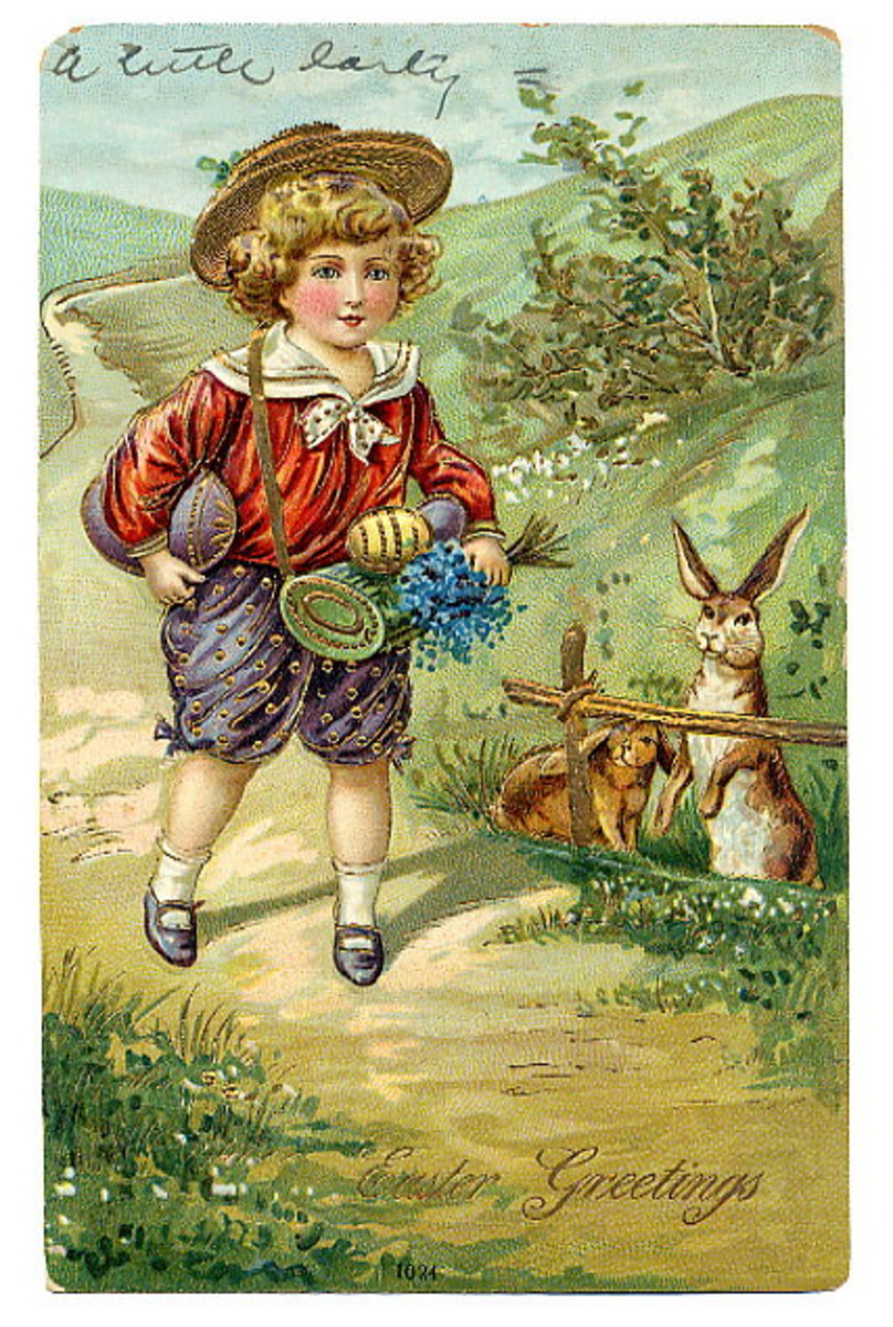 Vintage Easter card with little boy walking through countryside with Easter bunnies watching