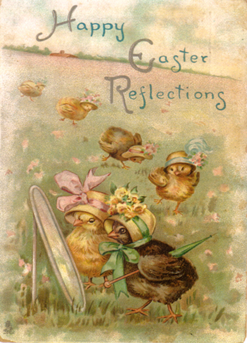 Vintage Easter card with chicks in Easter hats looking in mirror