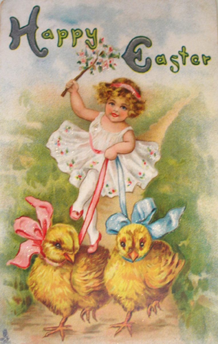 Vintage Easter greeting card: Little girl and two yellow Easter chicks