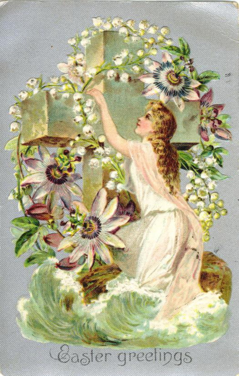 Vintage Easter card with woman arranging flowers on cross