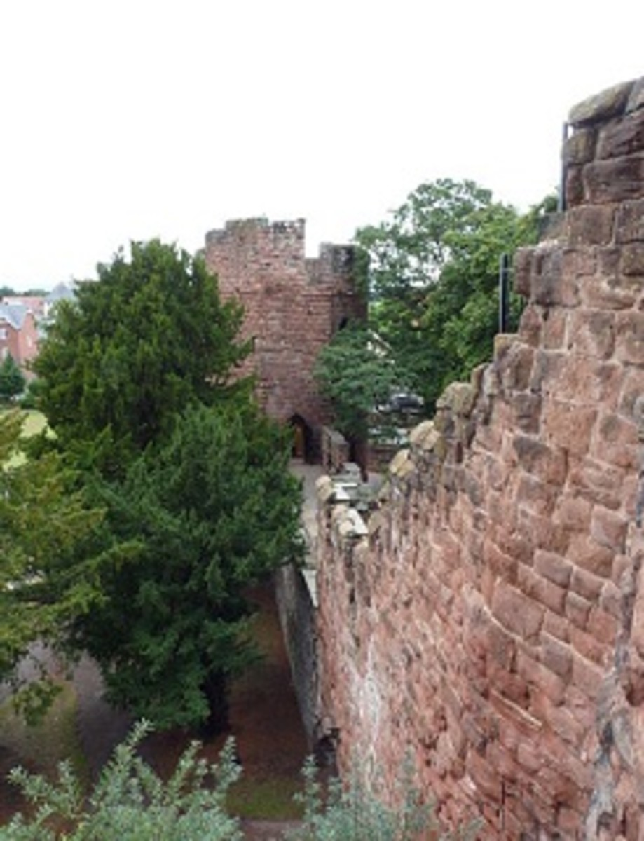 Part of Chester City Walls and a Water Tower