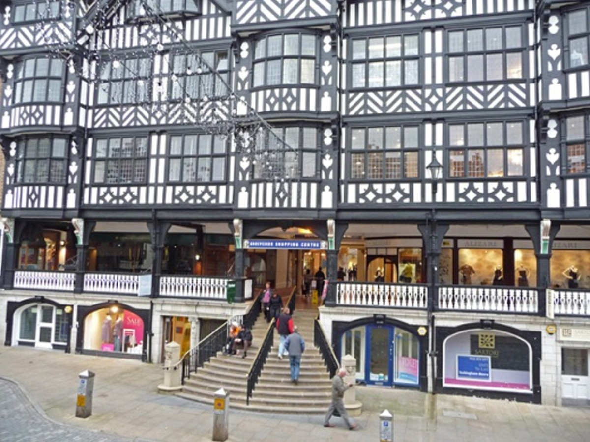 The Rows, Chester - medieval shopping galleries with stores on the upper floor as well as ground level.