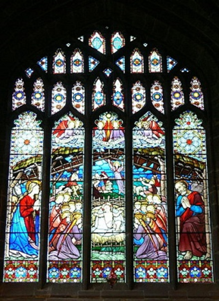 Stained glass window in Chester Cathedral depicting the Nativity