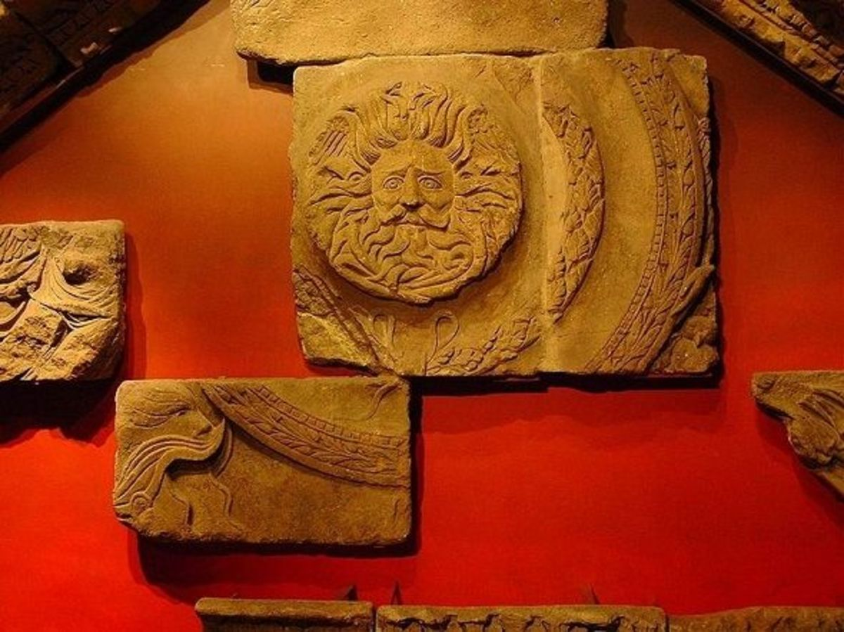 Some Remains of Roman temple, Aquae Sulis, modern Bath, England, UK
