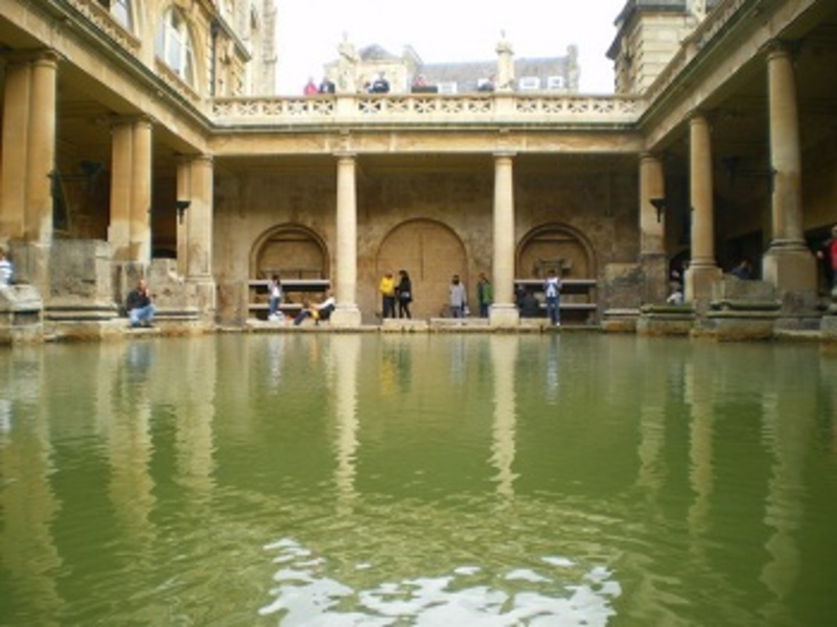 The ancient Roman Baths, in the centre of the city of Bath, Somerset, UK