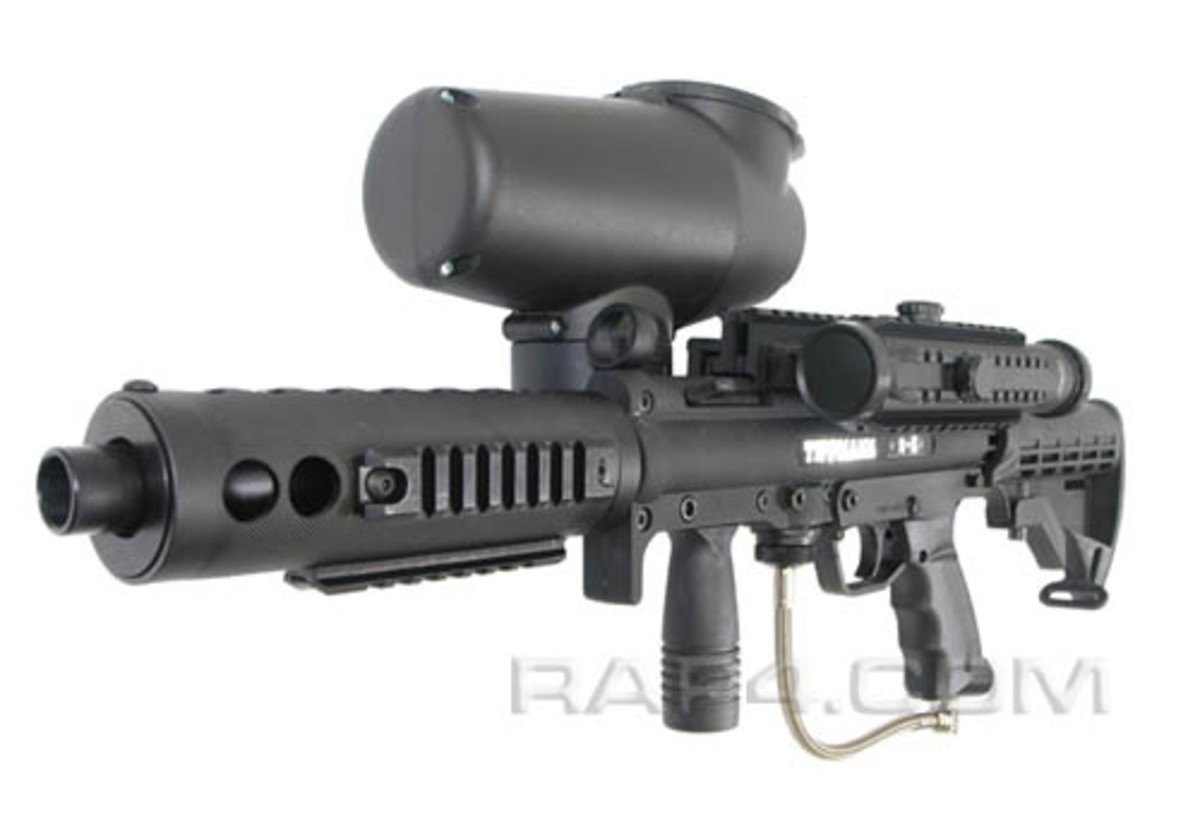 The Tippmann A-5 paintball marker is at the top of it's class.  This is a customized version of course! Man, the Tipmann really is the best paintball gun