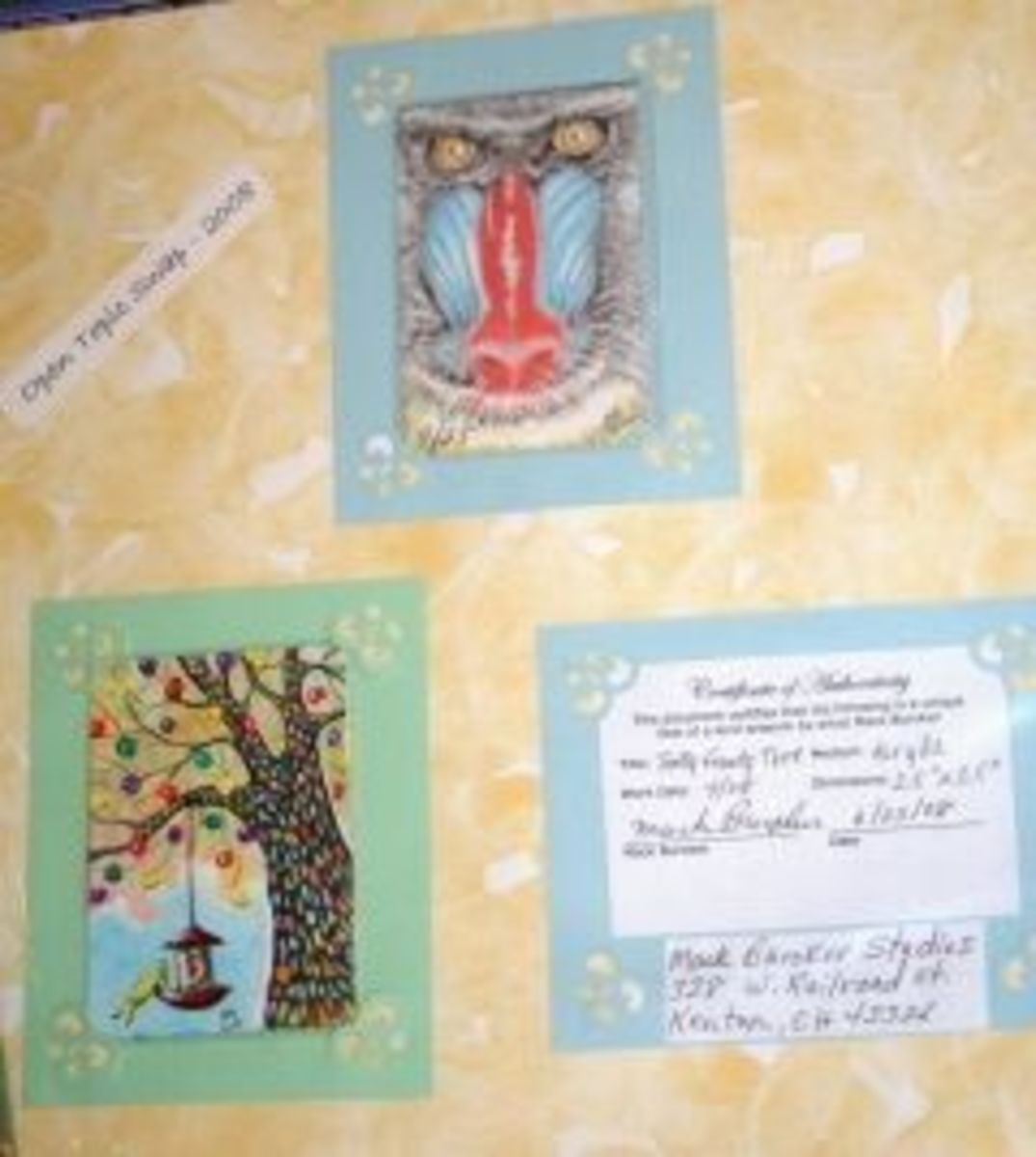 Aceo in a Scrapbook placed in frame