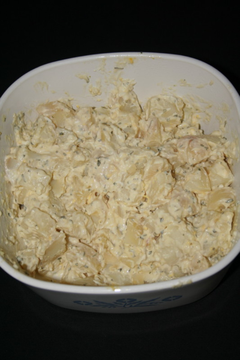 A Dish of Traditional Potato Salad