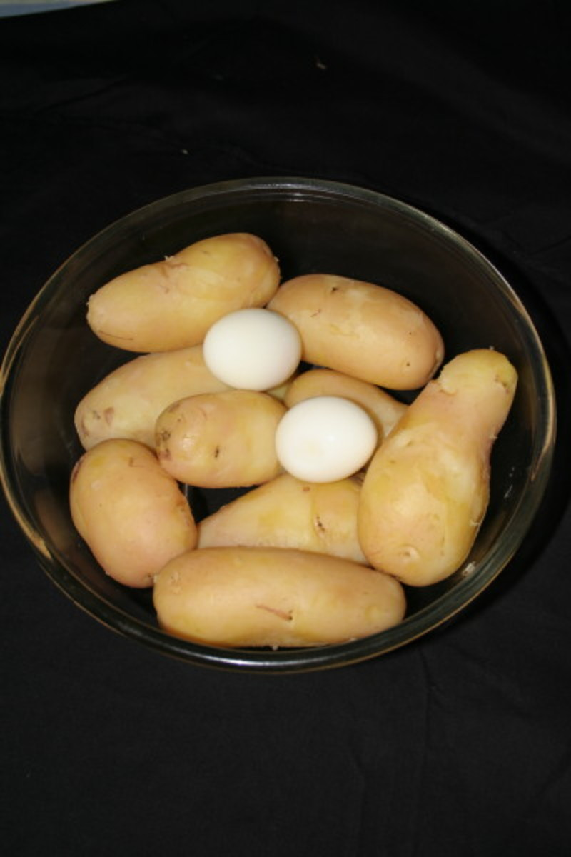 Boiled Rosa Potato and Hard Boiled Eggs