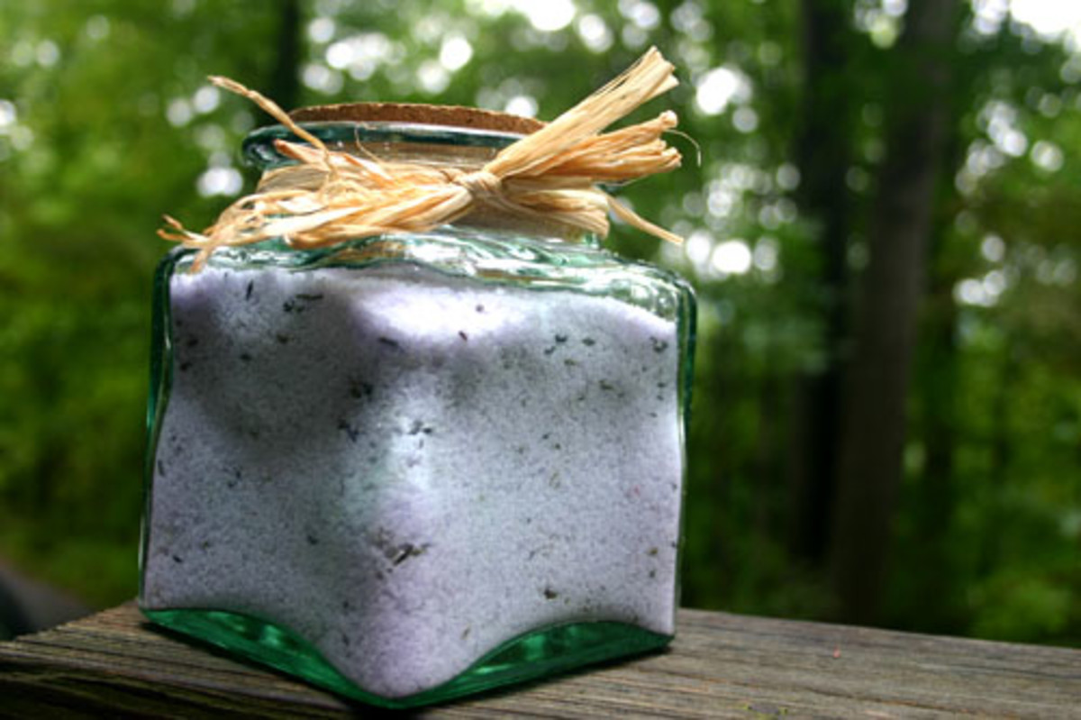 lavender bath salts in a jar and ready to be gifted to a friend