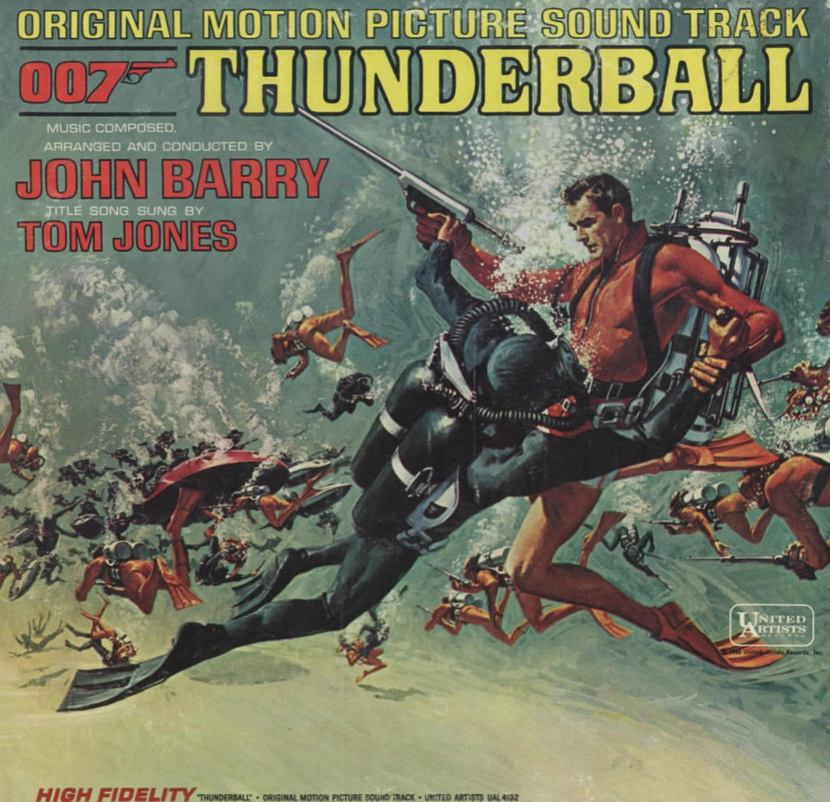 "James Bond 007 ""Thunderball"" United Artists Records UAL 4132 12"" Vinyl Record (1965) John Barry Original Motion Picture Soundtrack"